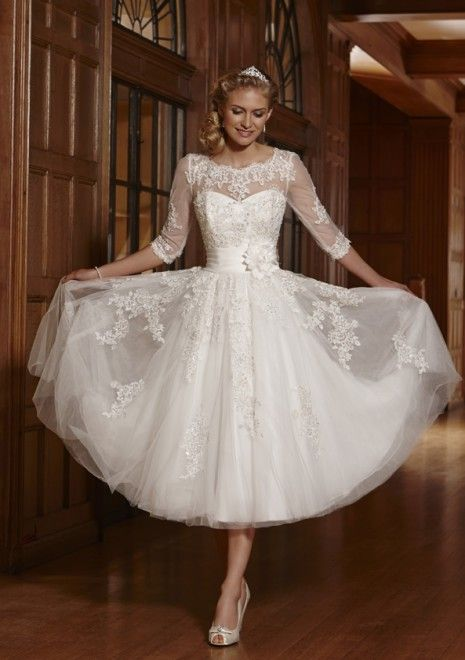 Tea Length 3 4 Long Sleeves Illusion Lace Wedding Dress Informal