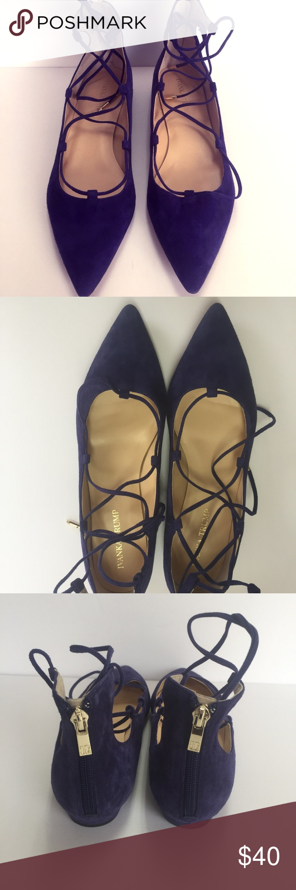 b0b86587114 Ivanka Trump Suede Blue Ballet Flats Pointed Toe Size US 9.5 Medium ...