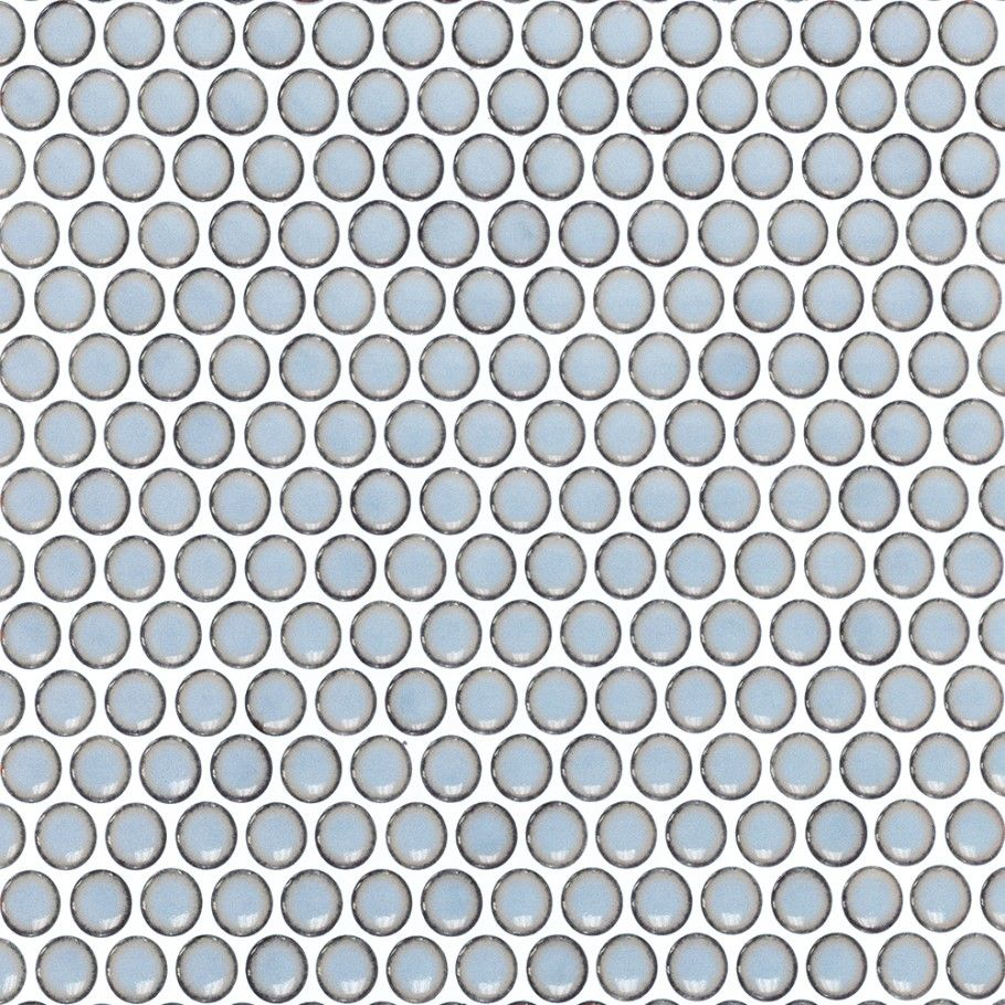 Eden Cloudy Sky Penny Round Polished Rimmed Ceramic Tile - Penny ...