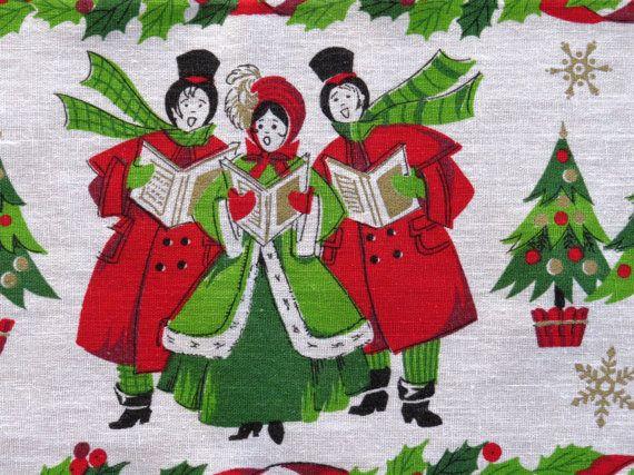 Vintage Christmas Carolers Tablecloth 1960s - Christmas Carolers ...
