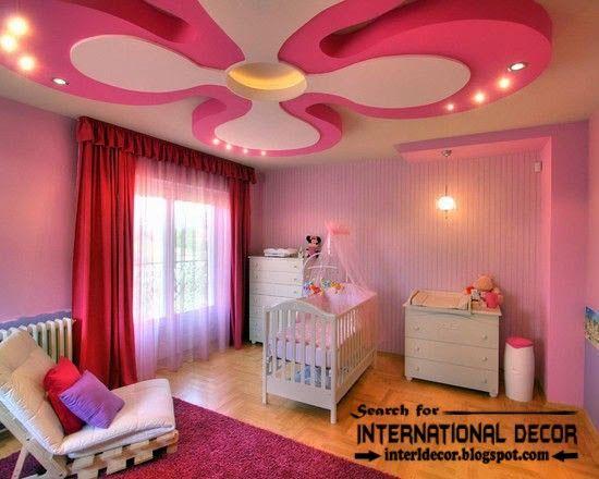 Multi level plasterboard ceiling designs for nursery, pink ...