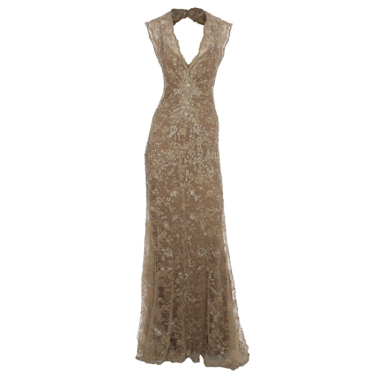 Hirshleifers monique lhuillier embroidered lace gown nude