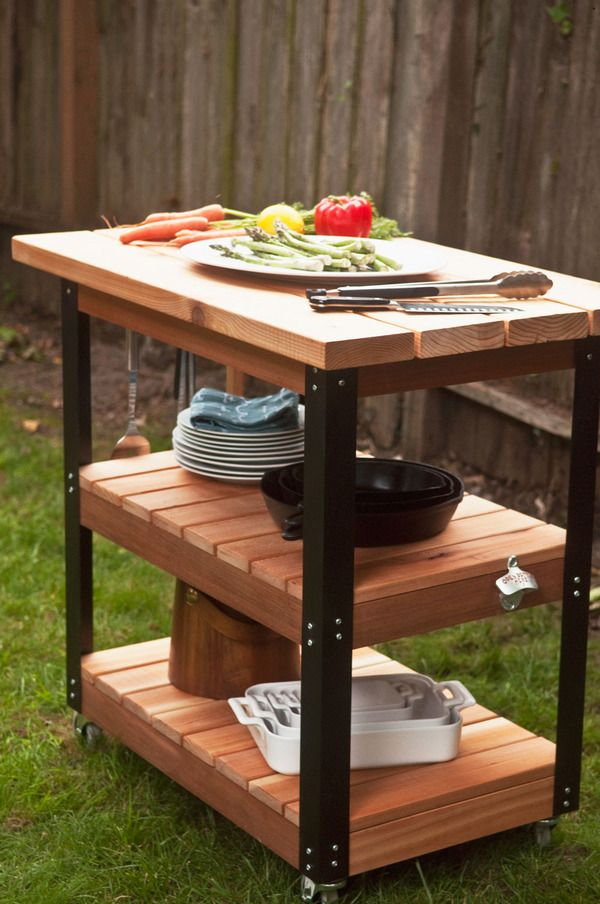 How To Make A Diy Rolling Grill Cart And Bbq Prep Station Grill Cart Bbq Table Outdoor Serving Station