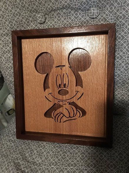Mickey Mouse Scroll Saw Portrait For My Son S Birthday