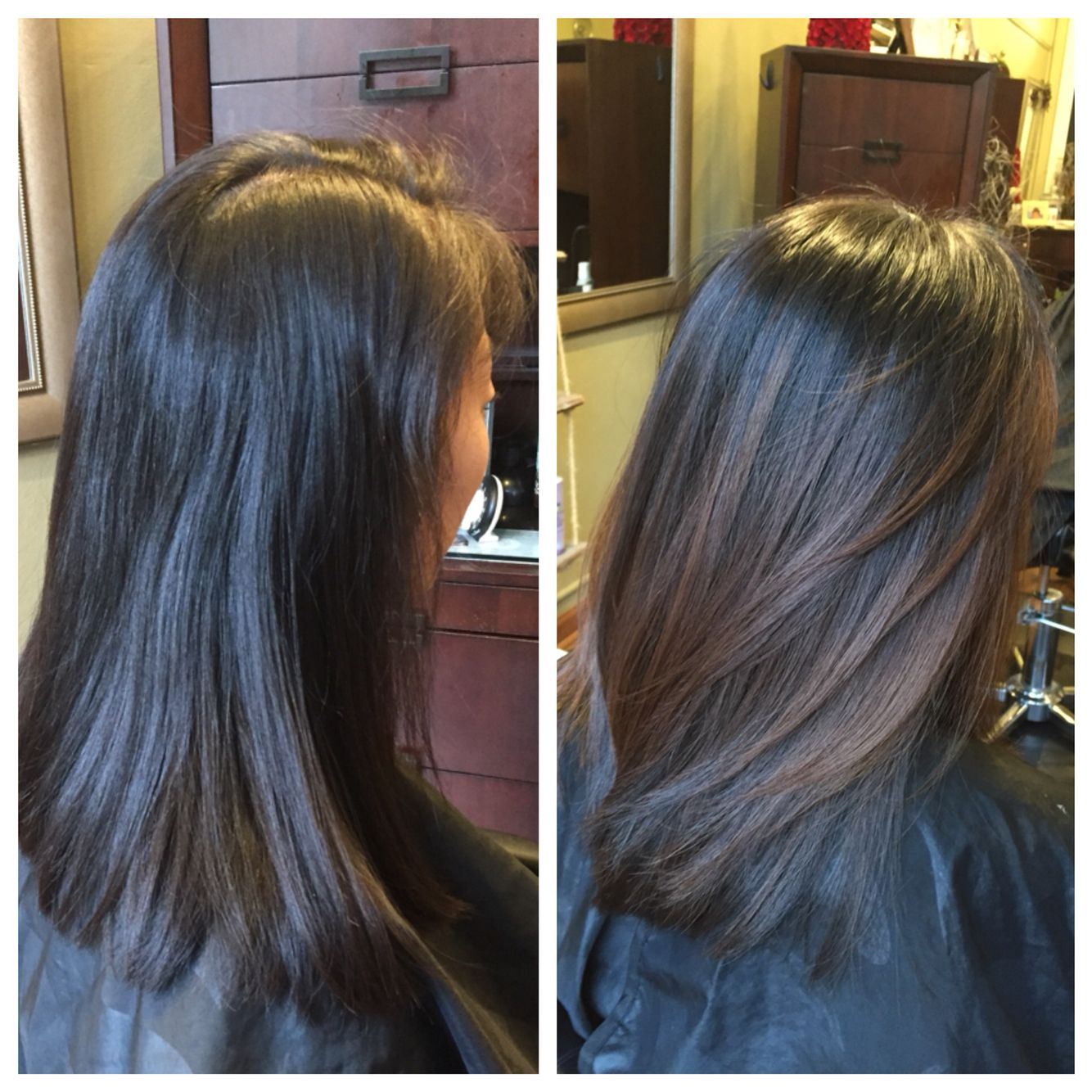 Subtle balayage highlights on straight hair. Before and