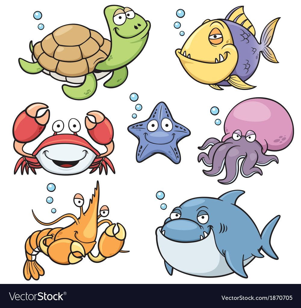 Sea Animal Royalty Free Vector Image Vectorstock Sea Animals Cartoon Animals Cartoon Fish