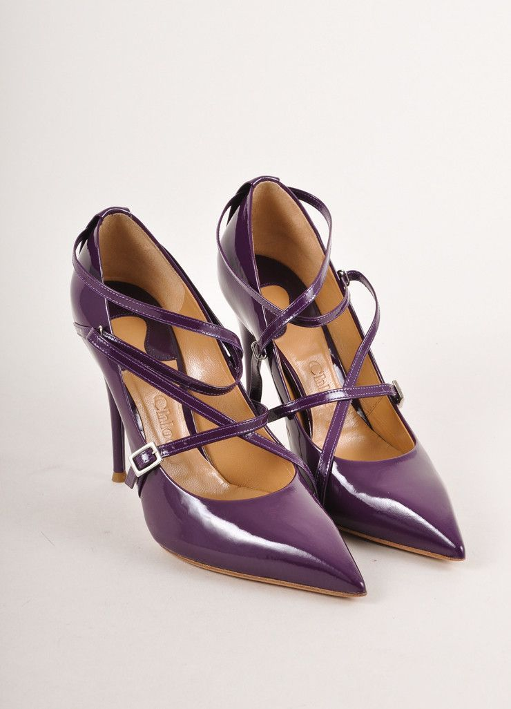 New In Box Purple Patent Leather Strappy Pointed Toe Pumps