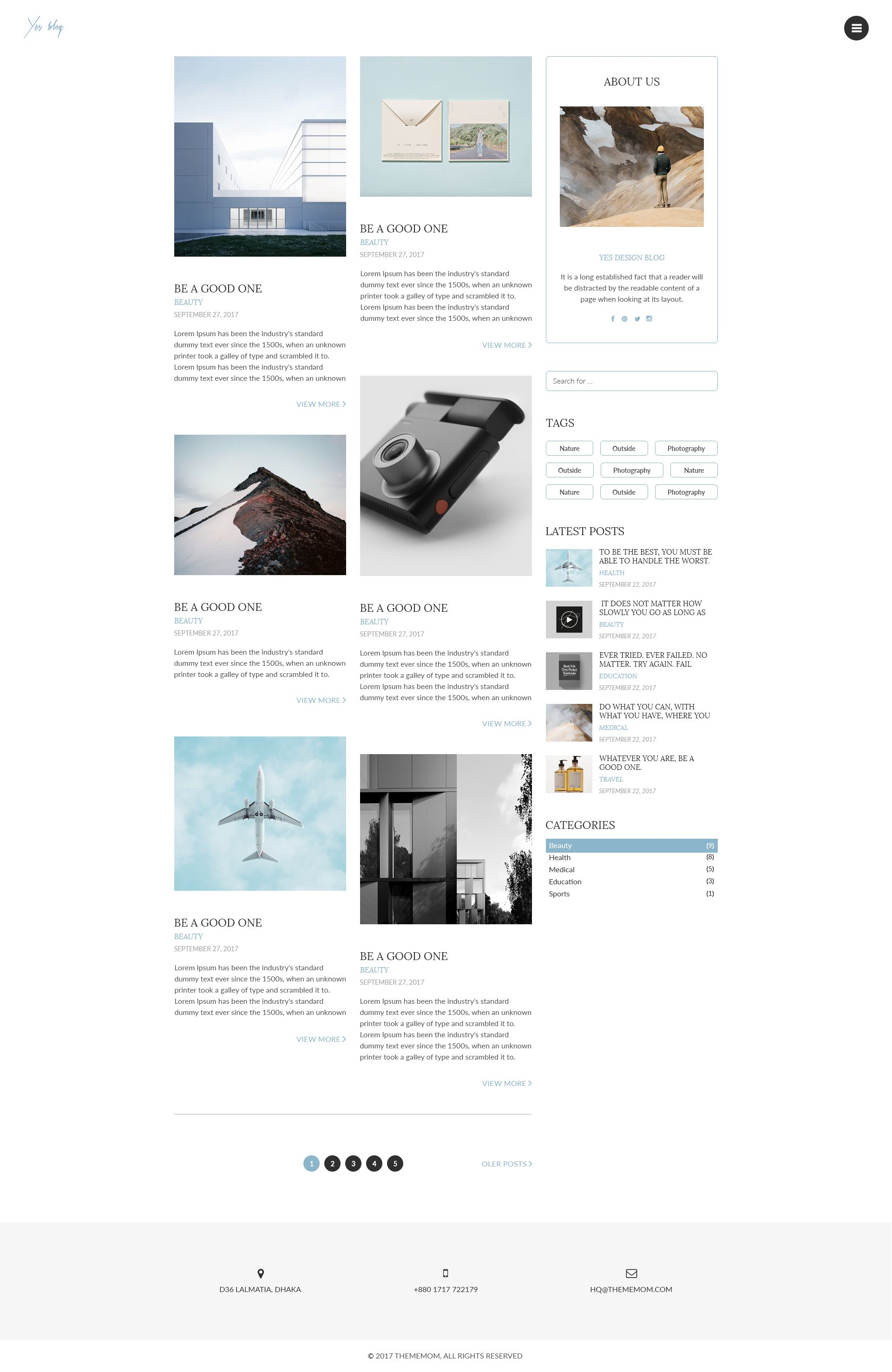 Yes Blog Minimal Blog Design Psd Template Minimal Blog Design Blog Design Psd Templates