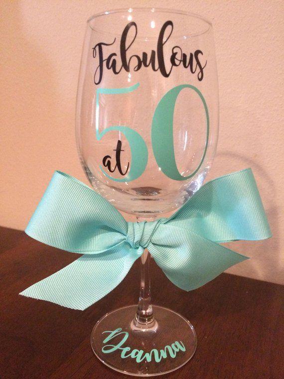 Custom 50th Birthday Wine Glass Fabulous At 50 50th Birthday Gift For Women 50th Birthday