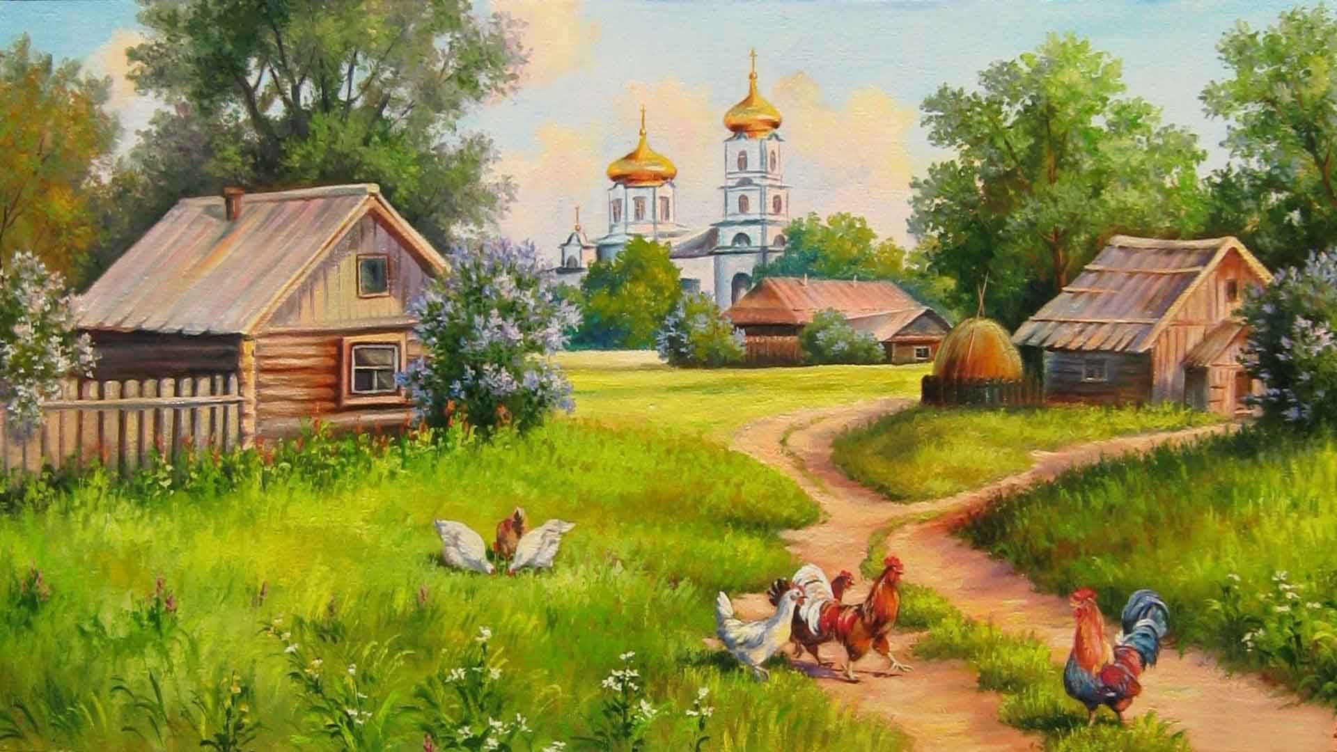Beautiful Village Paintings Wallpapers Free Download