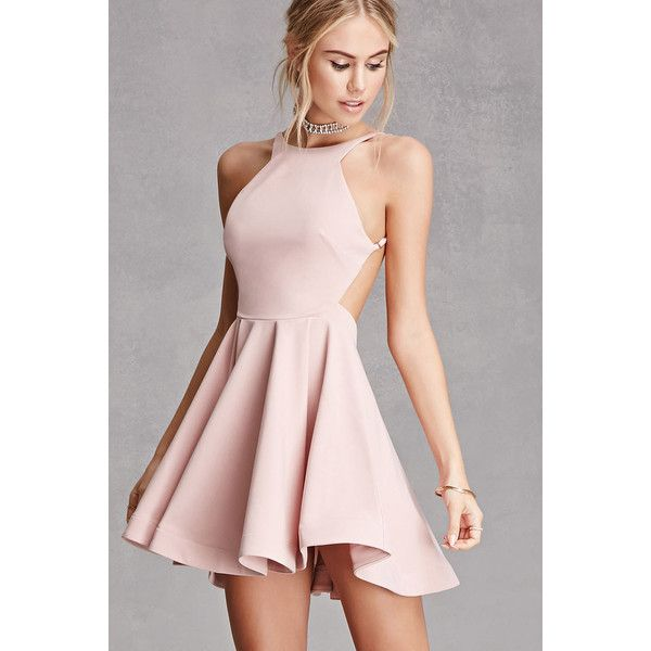 1ac6036bafb0 Forever21 Selfie Leslie Backless Dress ($58) ❤ liked on Polyvore featuring  dresses, blush, pink dress, pink fit-and-flare dresses, circle skirt, ...