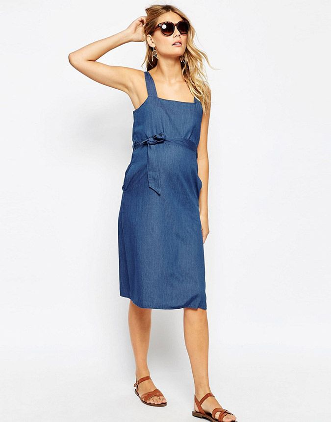 6e7094cc5c7b6 ASOS denim belted midi dress Asos Maternity, Maternity Dresses, Maternity  Fashion, Asos Online