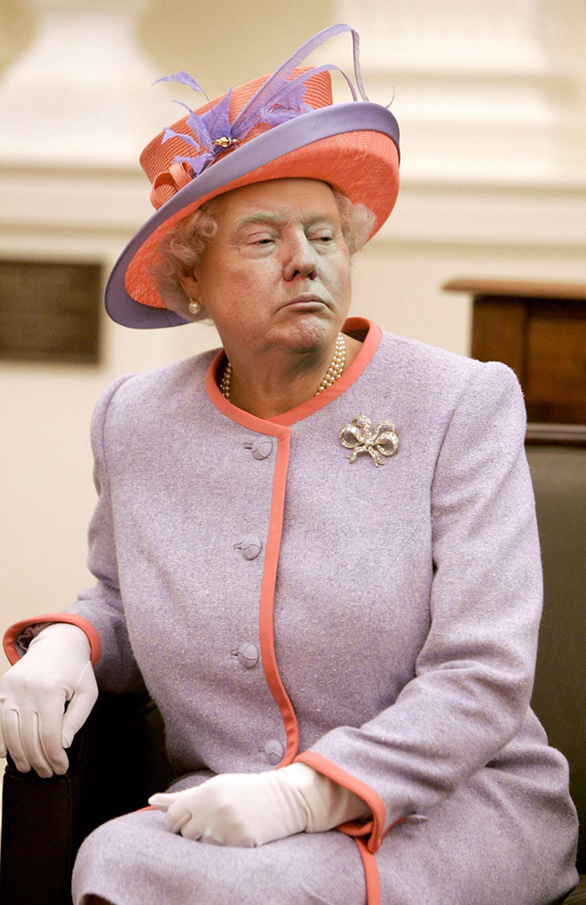 People Are Photoshopping Trump S Face On The Queen To Annoy Him Queen Elizabeth Queen Hat Red Hat Ladies