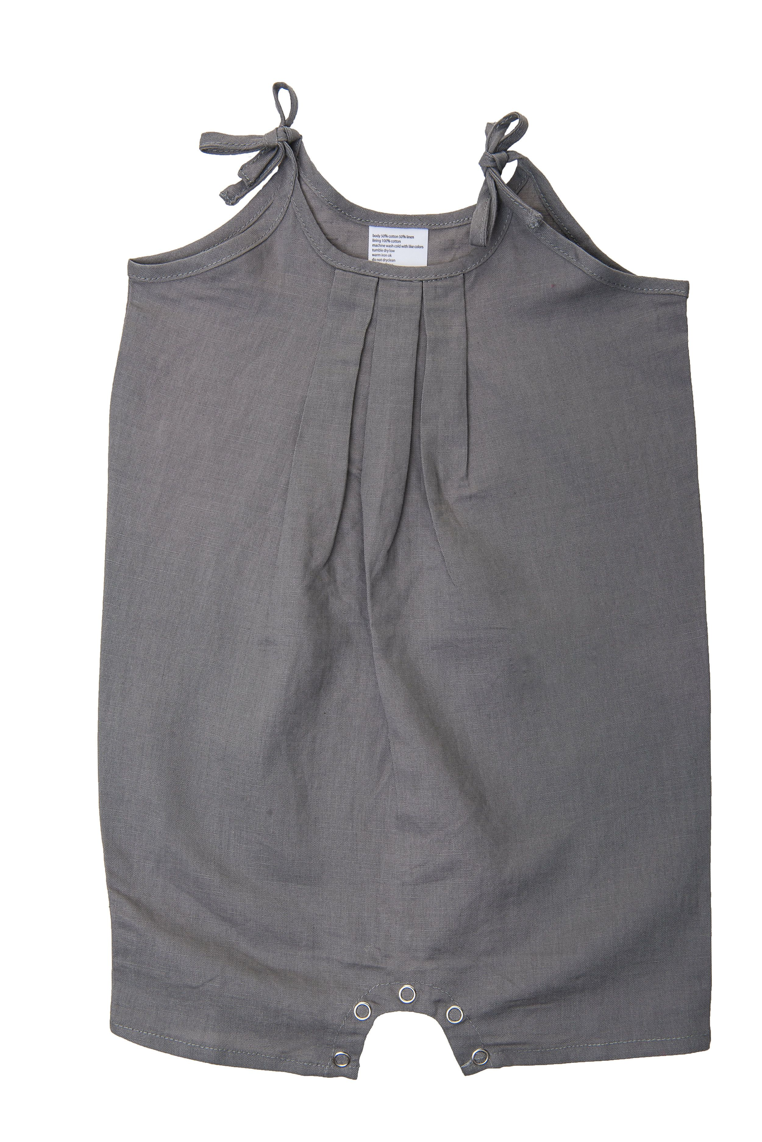 defb01a9ba0 Grey Linen Romper With Ties