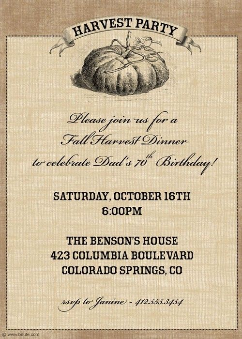 harvest party invitation thanksgiving birthday any by bnute 16 00