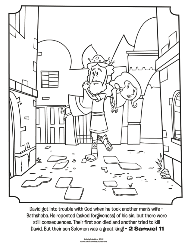 David And Bathsheba Bible Coloring Page