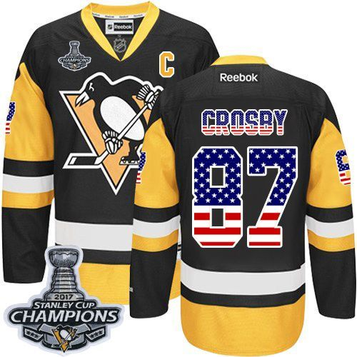 ff27c8b88 Reebok Pittsburgh Penguins  87 Men s Sidney Crosby Authentic Black Gold USA  Flag Fashion Stanley