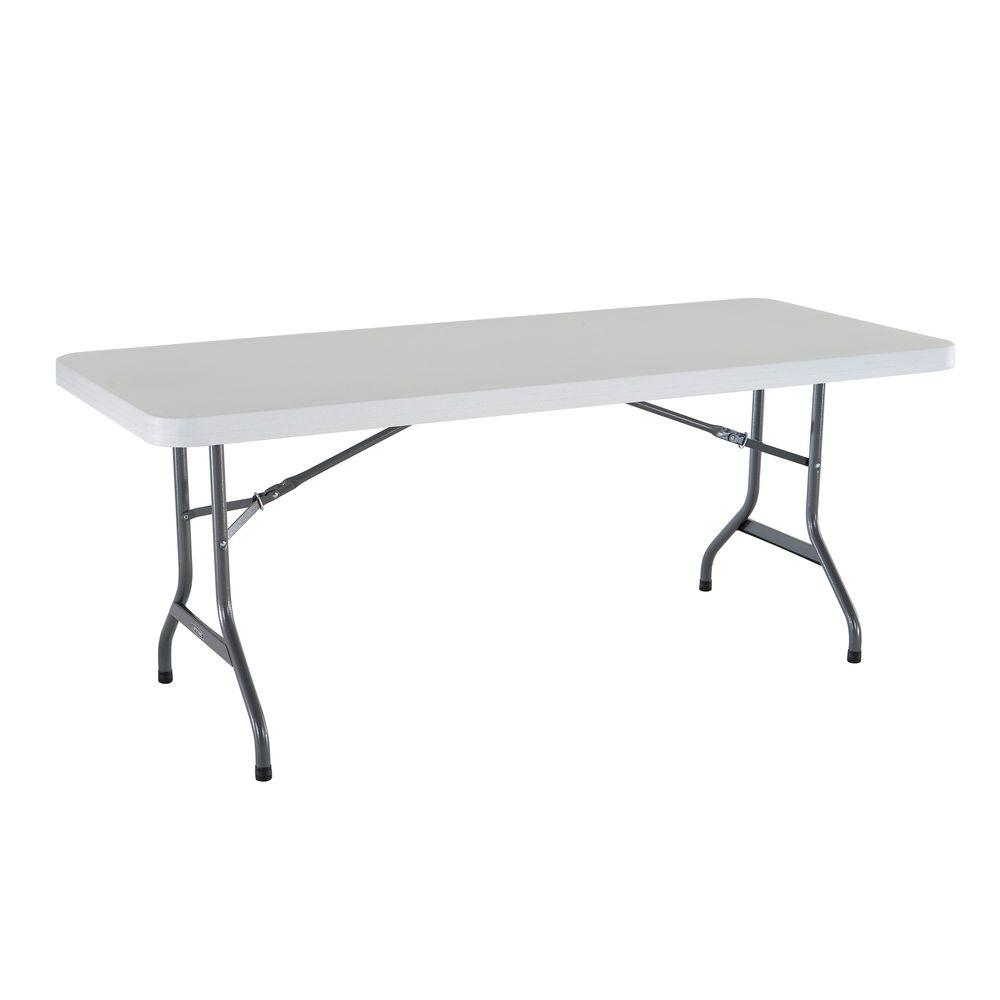 Lifetime 72 In White Plastic Portable Folding Banquet Table