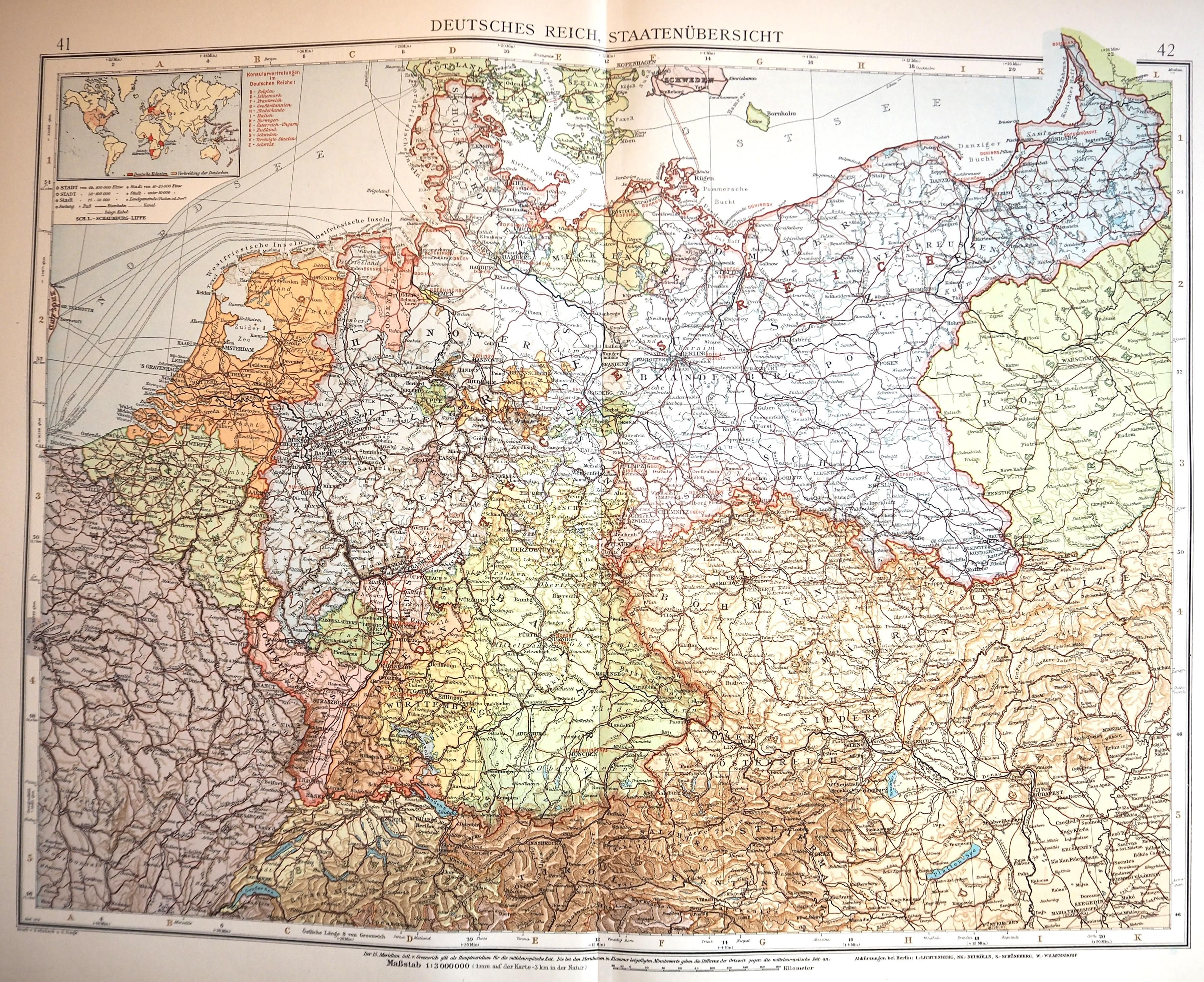 Andrees Handatlas 1914 Das Deutsche Reich Including