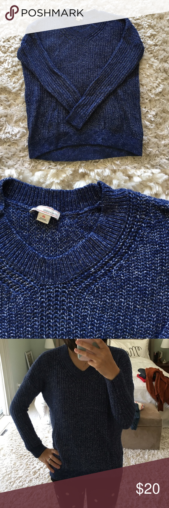 GAP Sweater EUC, only washed and worn once. GAP Knit Sweater in a blue and white speckled pattern. Perfect for Fall and Winter months. Women's XS. Super soft and cozy. 62% cotton, 38% acrylic. GAP Sweaters V-Necks