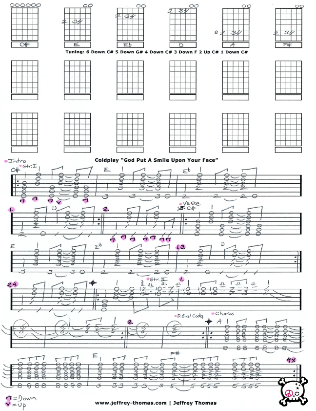 Coldplay God Put A Smile Upon Your Face Free Guitar Tab