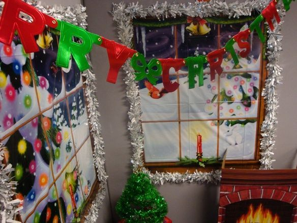 Image result for tacky christmas decorations office  Xmas office