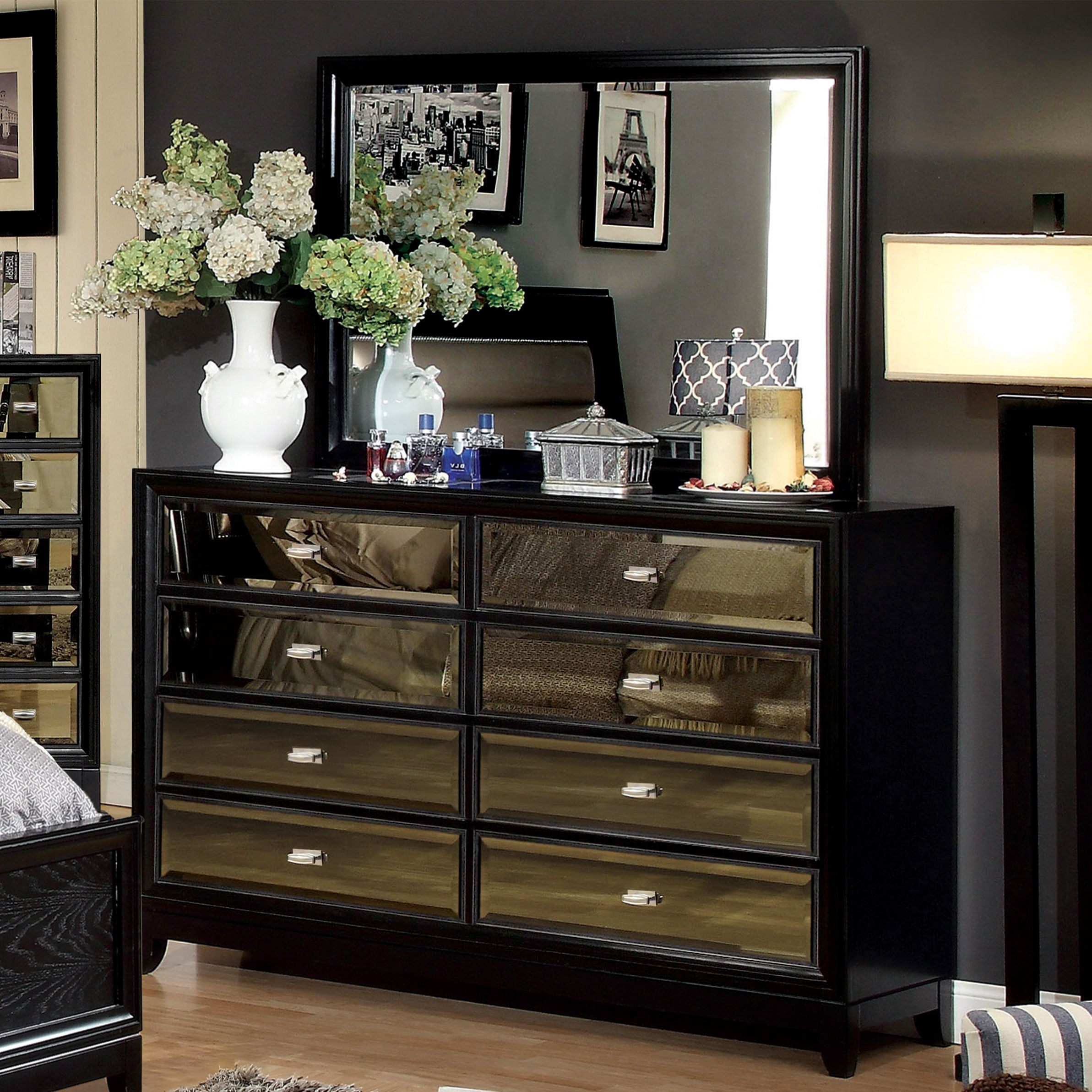 Furniture of america 2 piece dresser and mirror set black size 6 drawer