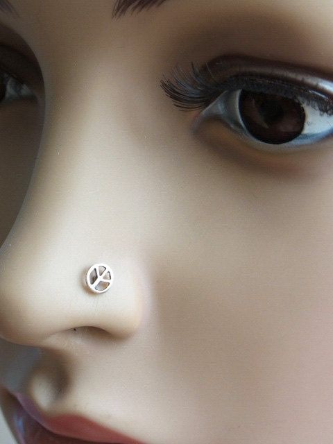 perfect peace a tiny stud pin sign silver pushfit for piercing featuring