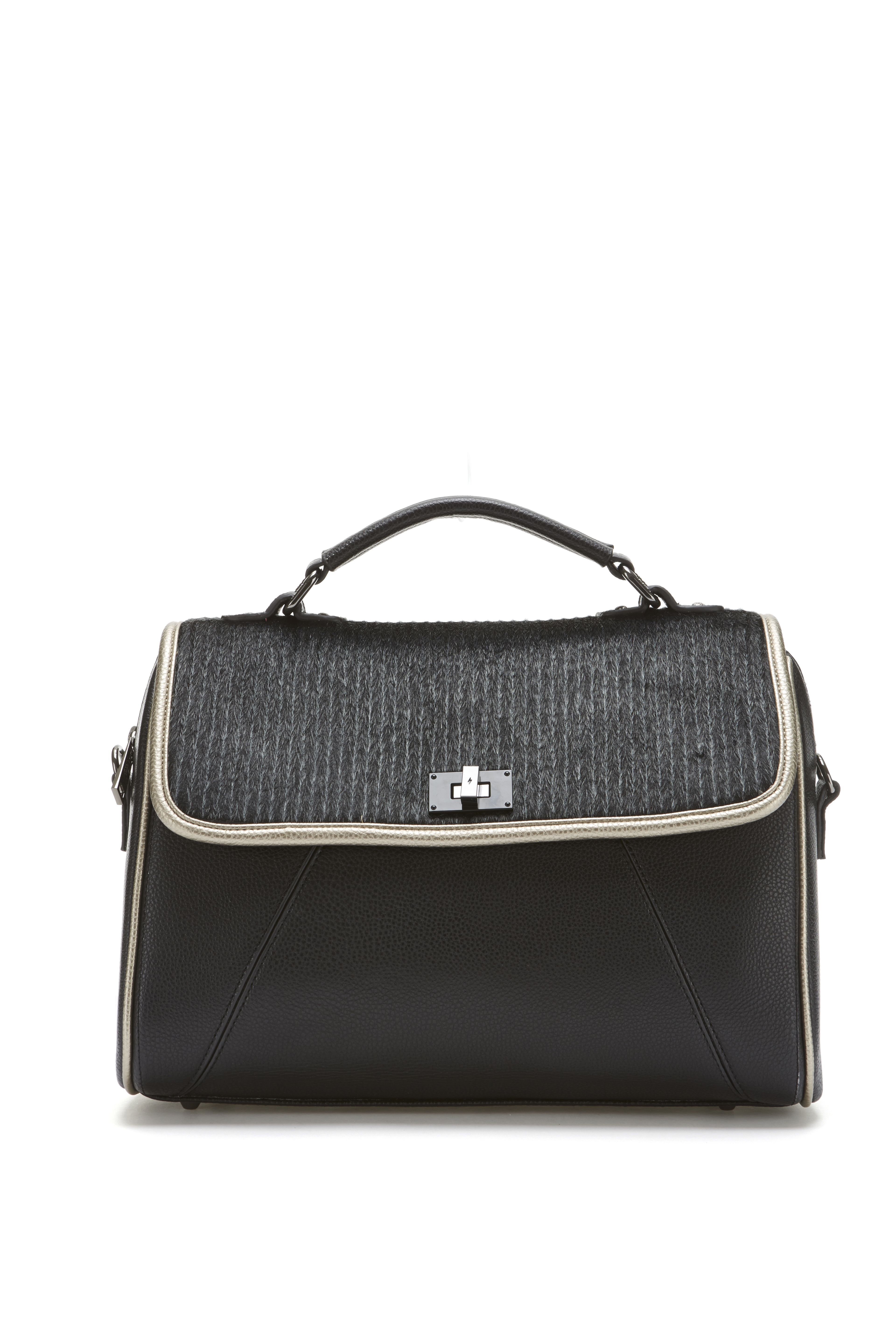 Paige Larger Satchel Bag With Faux Pony Hair Panel And Gold Trims
