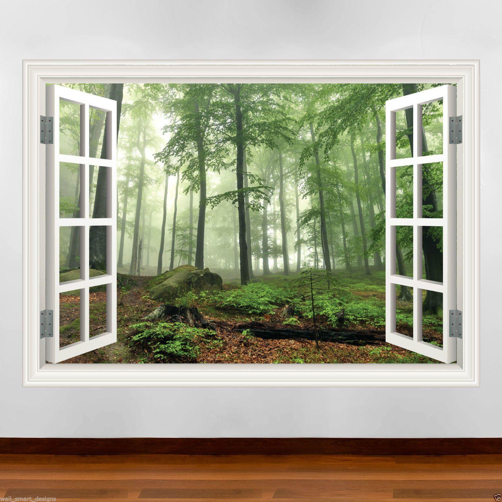 Details zu Fensterrahmen Volle Farbe Wald wandkunst sticker ...