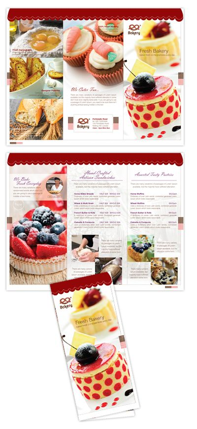 Artisan Decorative Bakery Tri Fold Brochure Template Brochure - Bakery brochure template