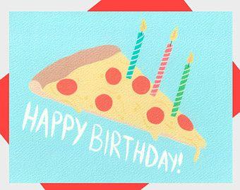 Pizza Happy Birthday Card