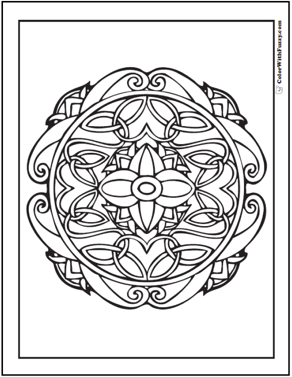 Round Celtic Cross Designs Coloring Page