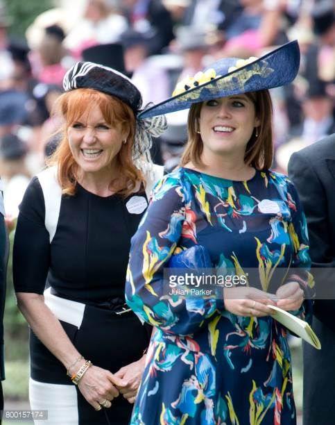 Sarah Ferguson Duchess of York and Princess Eugenie attend the fourth day of Royal Ascot 2017 at Ascot Racecourse on June 23 2017 in Ascot England
