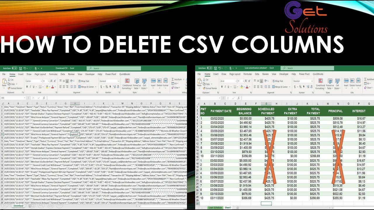 Delete Columns In Excel In 2020 Column Excel Solutions