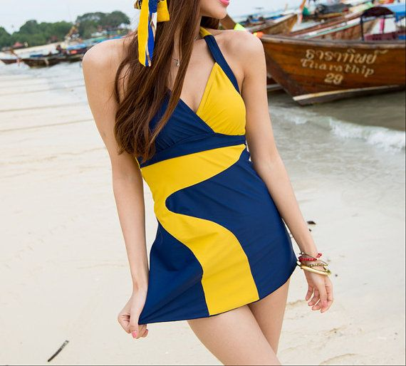 V Neck Swim Dress