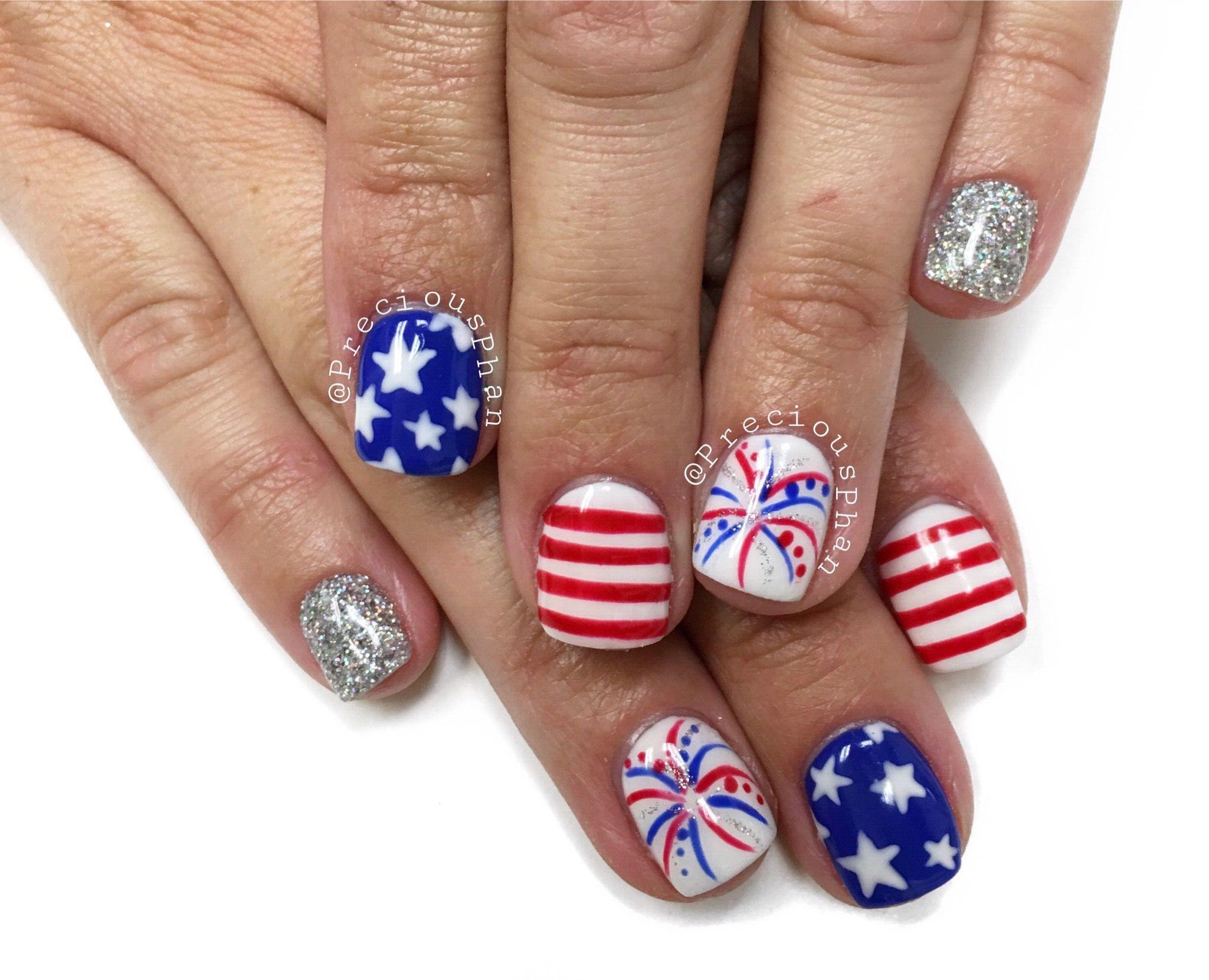 Fourth of July nails. Stars, fireworks, stripes, loose glitter nail ...