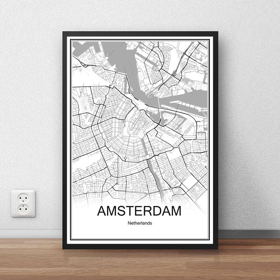 Encontrar Ms Pegatinas De Pared Informacin Acerca AMSTERDAM Pases Bajos Ciudad Mapa Vintage Poster Papel Estucado Impresin Abstracta Imagen Bar