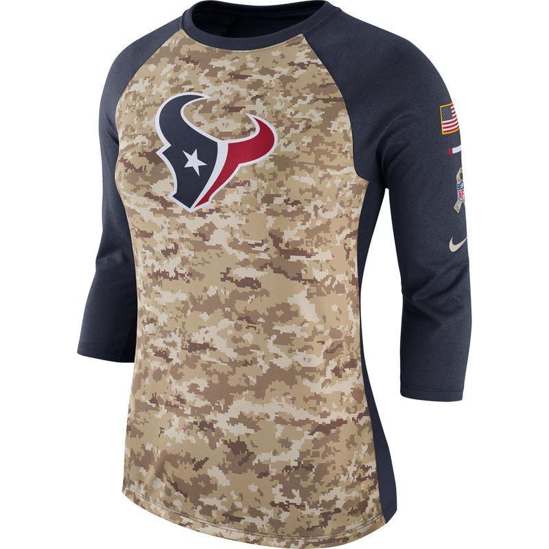 f4923835f Women s Nike Camo Navy Houston Texans Salute to Service Legend Three-Quarter  Raglan Sleeve Performance T-Shirt