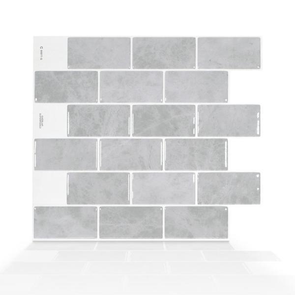 Smart Tiles Subway Fondi 10 95 In W X 9 70 In H Grey Peel And Stick Self Adhesive Decorative Mosaic Wall Tile Smart Tiles Stick On Tiles Stick On Wall Tiles