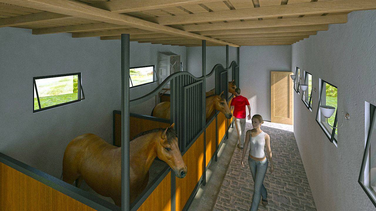 Horse stable 3d model design horse stable model design for Horse stable design plans