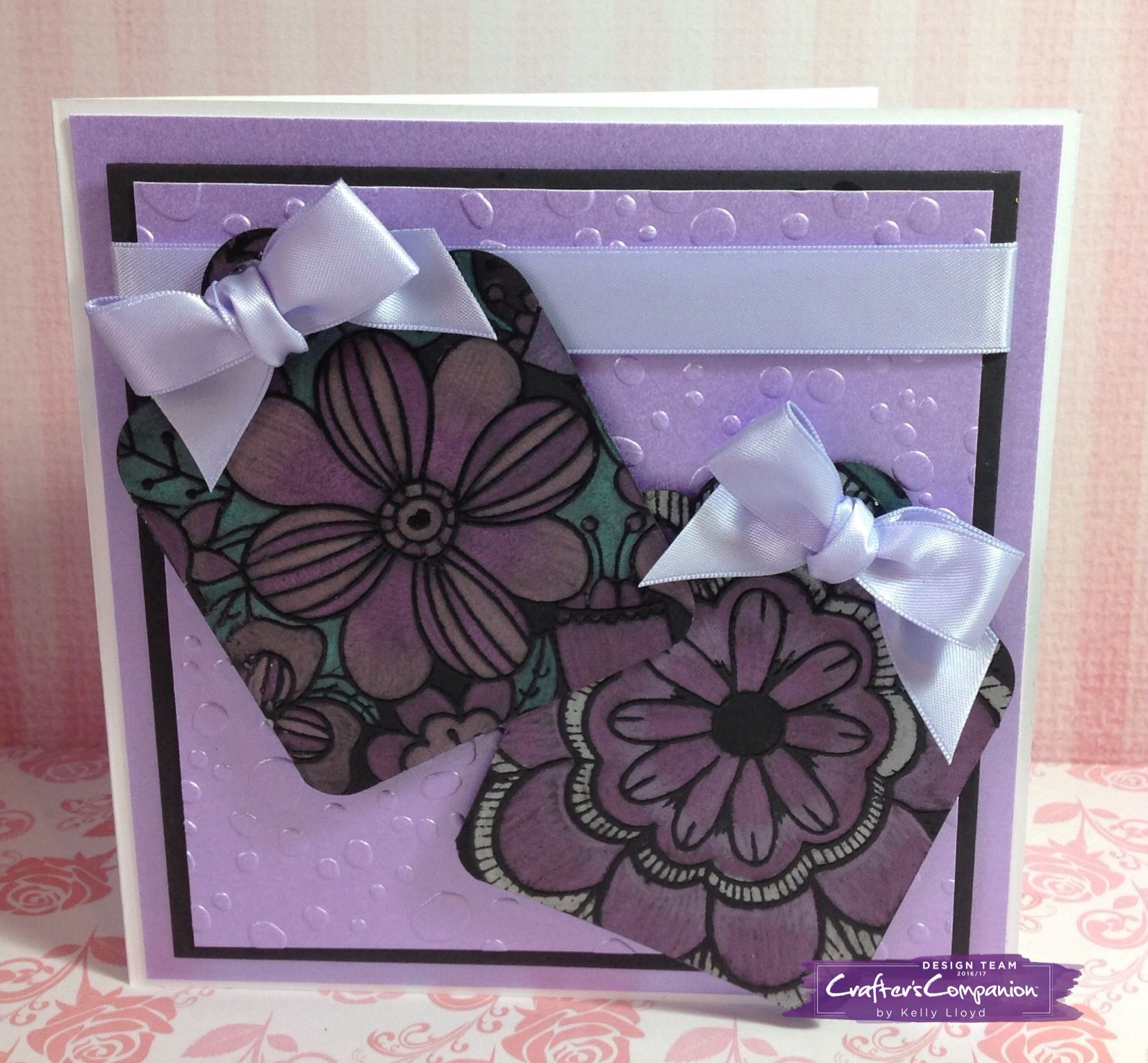 6x6 card using Spectrum Noir colorista dark designer tags 2 Coloured with spectrum noir metallic pencils. Purple, violet, pink, green, yellow. Designed by Kelly Lloyd #crafterscompanion #spectrumnoir #spectrumnoircolorista #adultcolouring
