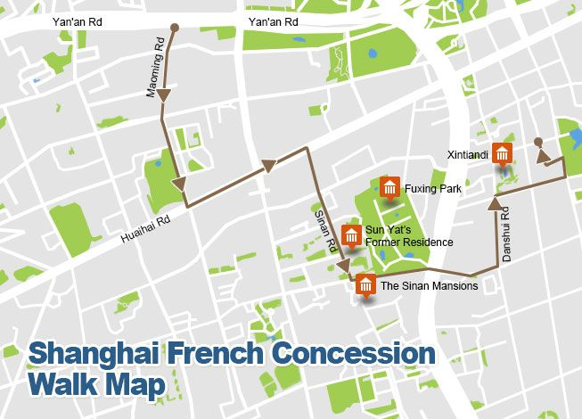Shanghai french concession walk map china pinterest for Ala shanghai chinese cuisine