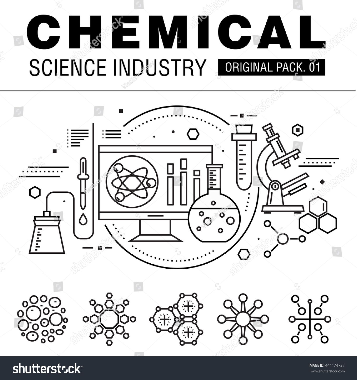 Modern chemical science industry. Thin line icons set