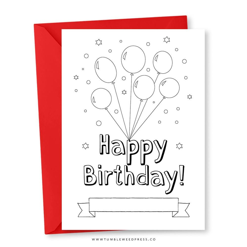 Happy Birthday Card Colour Balloons Happy Birthday Cards Happy Birthday Printable Birthday Invitations Kids