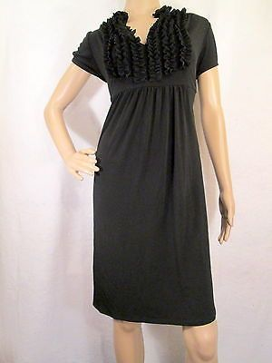 AA STUDIO Black Ruffled Short Sleeve Jersey Dress Size 14