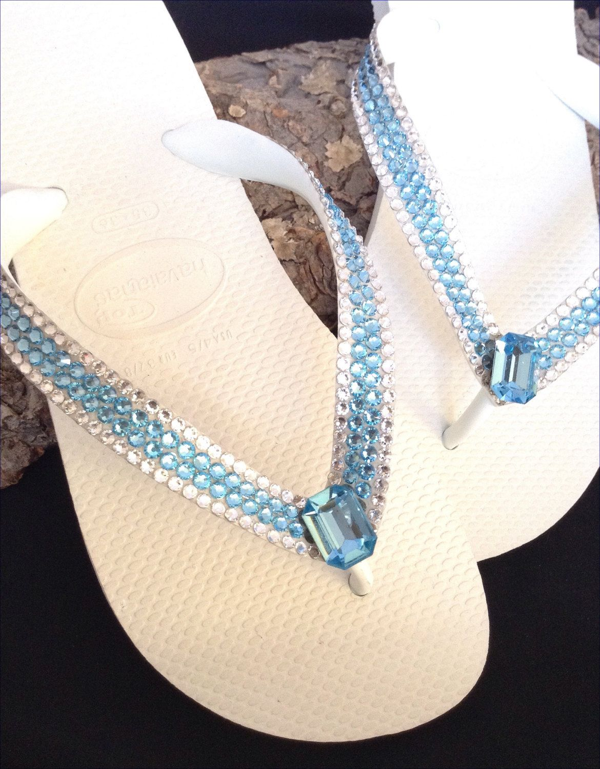 ff94d696d High Society Aquamarine Blue Rocks Swarovski Custom CRYSTAL Flip Flops  Havaianas or Cariris Beach Thong Sandals Shoes by GlassSlippersCC on Etsy