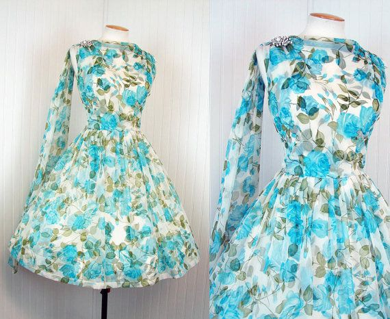 1950s Dress   HILL COUNTRY BLUES Vintage 50s by jumblelaya on Etsy, $168.00
