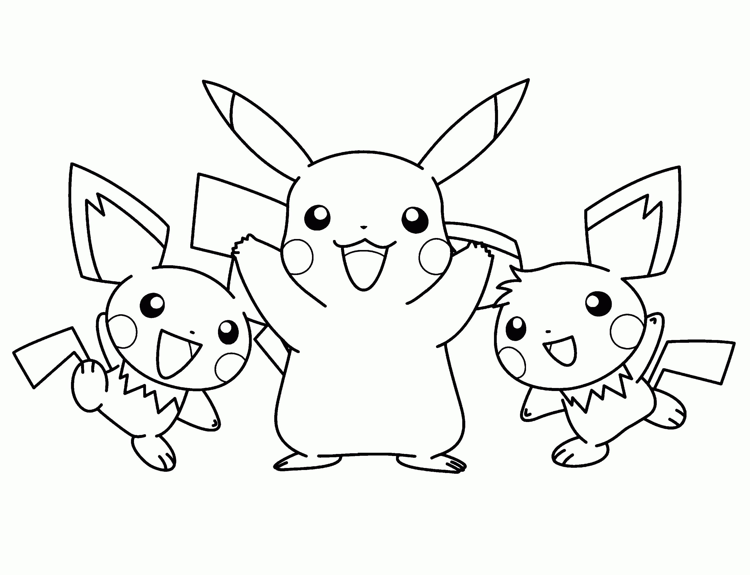 Coloring pages pikachu and friends - Pokemon Coloring Pages Pikachu And Frien