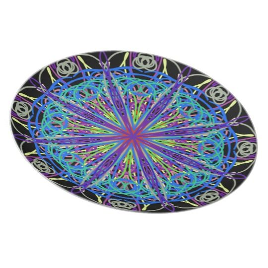 Kaleidoscope Mandala Art Joyful Colors Dinner Plate